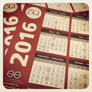 psac 2016 calendars